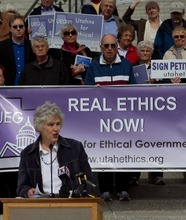 Tribune file photo Dixie Huefner, of Utahns for Ethical Government, says state ethics laws are weak -- including the waiting period for lawmakers to turn lobbyist.