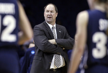 BYU head coach Jeff Judkins ooks to his team during the second half of an NCAA tournament first-round women's college basketball game against DePaul in Rosemont, Ill., Saturday, March 17, 2012. DePaul won 59-55. (AP Photo/Nam Y. Huh)