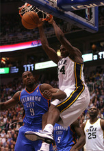 Leah Hogsten  |  The Salt Lake Tribune The Jazz's Paul Millsap stuffs one over the Thunder's Serge Ibaka.  Utah Jazz lead 52-44 after the first half against Oklahoma City Thunder, Tuesday, March 20, 2012, at the Energy Solutions Arena in Salt Lake City, Utah .