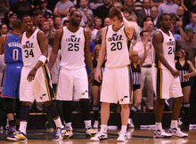 Leah Hogsten  |  The Salt Lake Tribune The Jazz's l-r C.J. Miles, Al Jefferson, Gordon Hayward and Paul Millsap stopped the Thunder in the second half. Utah Jazz defeated Oklahoma City Thunder 97-90 Tuesday, March 20, 2012, at the Energy Solutions Arena in Salt Lake City, Utah .
