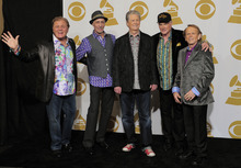 From left, Bruce Johnston, David Marks, Brian Wilson, Mike Love and Al Jardine of musical group The Beach Boys pose backstage at the 54th annual Grammy Awards on Sunday, Feb. 12, 2012 in Los Angeles. (AP Photo/Mark J. Terrill)