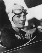 An undated file photo shows Amelia Earhart, the first woman to fly solo across the Atlantic Ocean.   Secretary of State Hillary Rodham Clinton is meeting Tuesday March 20, 2012,  with historians and scientists from The International Group for Historic Aircraft Recovery, which will launch a new search in June for the wreckage of Earhart's plane off the remote island of Nikumaroro.  (AP Photo)