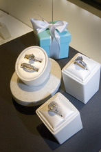 Paul Fraughton | The Salt Lake Tribune Diamond engagement rings on display at the new Tiffany store opening in City Creek Center.