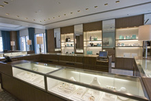 Paul Fraughton | The Salt Lake Tribune Display cases filled with jewelry at the new Tiffany store opening in City Creek Center.
