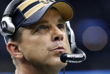 FILE - This Dec. 26, 2011 file photo shows New Orleans Saints head coach Sean Payton in the fourth quarter of an NFL football game against the Atlanta Falcons in New Orleans. The NFL has suspended Payton for the 2012 season, and former Saints defensive coordinator Gregg Williams is banned from the league indefinitely because of the team's bounty program that targeted opposing players. Also Wednesday, March 21, 2012, Goodell suspended Saints general manager Mickey Loomis for the first eight regular-season games of 2012, and assistant coach Joe Vitt has to sit out the first six games. (AP Photo/Rusty Costanza, File)