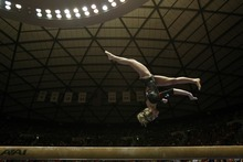 Chris Detrick  |  The Salt Lake Tribune Mary Beth Lofgren competes on the beam during a meet against Utah State at the Huntsman Center on Jan. 13.