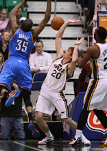 Leah Hogsten  |  The Salt Lake Tribune Utah Jazz Gordon Hayward battles the Thunder's Kevin Durant during the first half against Oklahoma City Thunder, Tuesday, March 20, 2012, at the Energy Solutions Arena in Salt Lake City, Utah .
