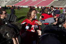 Chris Detrick  |  The Salt Lake Tribune Utah Utes quarterback Jordan Wynn talks to members of the media during practice at Rice-Eccles Stadium Tuesday March 20, 2012.