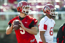 Chris Detrick  |  The Salt Lake Tribune Utah Utes quarterback Chase Hansen during practice at Rice-Eccles Stadium Tuesday March 20, 2012.