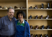 Kim Raff | The Salt Lake Tribune Gunter and Carol Radinger are reopening The Oxford Shop in Salt Lake City.  The shoe store originally closed after the owner Richard Wirick was killed in an accident last month.