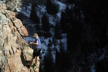 Kim Raff | The Salt Lake Tribune Sarah Benson climbs the Appendage in Rock Canyon in Provo, Utah on March 22, 2012.