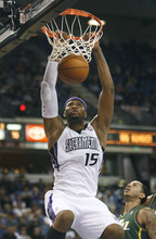 Sacramento Kings center DeMarcus Cousins breaks away for a dunk against the Utah Jazz during the second half of an NBA basketball game in Sacramento, Calif., Thursday, March 22, 2012. The Jazz won 103-102.(AP Photo/Steve Yeater)
