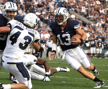 Rick Egan  | Tribune file photo  Brigham Young quarterback Riley Nelson was just 2-for-6 for 15 yards, and was intercepted by Mike Hague in Monday's practice.