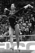 Chris Detrick  |  The Salt Lake Tribune Oregon State's Leslie Mak competes on the beam during the gymnastics meet against Utah at the Huntsman Center Friday March 2, 2012. Utah won 196.575 to 195.600.