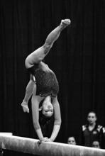 UCLA's Vanessa Zamarripa performs on the beam during the NCAA gymnastics championships in Gainesville, Fla., Friday, April 23, 2010. (AP Photo/Phelan M. Ebenhack)