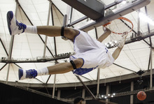 Kentucky's Anthony Davis misses a dunk against Baylor during the first half of an NCAA tournament South Regional finals college basketball game Sunday, March 25, 2012, in Atlanta. (AP Photo/David J. Phillip)