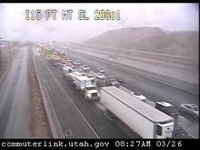 All lanes are blocked on I-15 southbound near point of the mountain after a semi rolled over due to high winds. (UDOT traffic cam image)