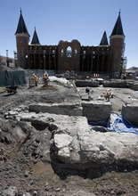 Francisco Kjolseth  |  The Salt Lake Tribune The four foot thick foundation walls of the old Provo Tabernacle which was originally completed in 1867 are revealed once again as BYU archaeology students work on the remains in order to record what they find as part of an archaeology class. The former building which stood three stories tall was unearthead from its resting place next to the current Tabernacle which burned down in December of 2010 and is being restored as the Provo City Center Temple.