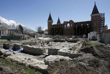 Francisco Kjolseth  |  The Salt Lake Tribune The four foot thick foundation walls of the old Provo Tabernacle which was originally completed in 1867 are revealed once again as BYU archaeology students work on the remains in order to record what they find as part of an archaeology class.