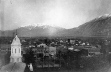 photo courtesy the Provo Library  A spire from the first Provo Tabernacle is seen in a historic photo from the 1890s, as seen from the roof of the second Provo Tabernacle. Brigham Young University Archaeology students are excavating the remains of the first tabernacle.