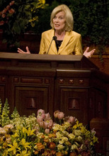 Young woman general president Elaine S. Dalton address the audience during the General Young Women's meeting Saturday, March 28, 2009 at the LDS Conference Center in Salt Lake City. Approximately 16,000 attended the General Young Women's meeting that had the theme for young women to be virtuous. Jim Urquhart/The Salt Lake Tribune; 3/28/09