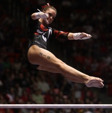 Kim Raff | The Salt Lake Tribune University of Utah gymnast Stephanie McAllister competes on the uneven bars during the Pac 12 Gymnastics Championship at the Huntsman Center in Salt Lake City, Utah on March 24, 2012.