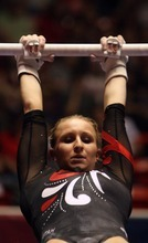 Kim Raff | The Salt Lake Tribune University of Utah gymnast Cortni Beers competes in the uneven bars during the Pac 12 Gymnastics Championship at the Huntsman Center in Salt Lake City, Utah on March 24, 2012.