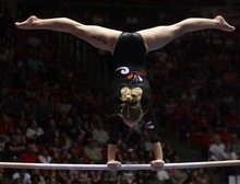 Kim Raff | The Salt Lake Tribune University of Utah gymnast Georgia Dabritz competes in the uneven bars during the Pac 12 Gymnastics Championship at the Huntsman Center in Salt Lake City, Utah on March 24, 2012.