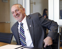 Al Hartmann  |  The Salt Lake Tribune Westminster College named Brian Levin-Stankevich, chancellor at University of Wisconsin-Eau Claire, as its next president.  He stopped in Salt Lake City for a visit Tuesday March 27.