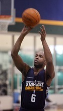 Steve Griffin  |  The Salt Lake Tribune  Jamaal Tinsley warms up prior to practice at the Jazz practice facility  in Salt Lake City, Utah Monday, December 12, 2011.