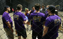 Steve Griffin  |  The Salt Lake Tribune  A dodgeball team in The Beehive Sport and Social Club adult league huddles up before the start of their semi-final match at The Complex in Salt Lake City on  Wednesday, March 14, 2012.