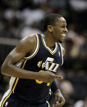 Utah Jazz small forward C.J. Miles (34) plays during an NBA basketball game against the Atlanta Hawks Sunday, March 25, 2012, in Atlanta. (AP Photo/David Goldman)