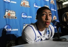 Kentucky forward Anthony Davis talks to reporters during a news conference in New Orleans, Thursday, March 29, 2012. Kentucky will play Louisville in an NCAA tournament Final Four semifinal college basketball game on Saturday. (AP Photo/Gerald Herbert)
