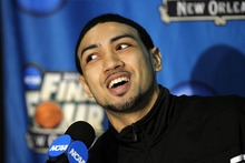Louisville guard Peyton Siva talks to reporters during a news conference in New Orleans, Thursday, March 29, 2012. Louisville will play Kentucky in an NCAA tournament Final Four semifinal college basketball game on Saturday. (AP Photo/Gerald Herbert)