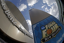 This image taken with a fisheye lens show the Superdome Thursday, March 29, 2012, in New Orleans. The Superdome is the site of the 2012 NCAA Final Four men's college basketball tournament. (AP Photo/David J. Phillip)