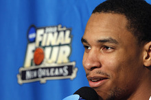 Ohio State forward Jared Sullinger talks to reporters during a news conference in New Orleans, Thursday, March 29, 2012. Ohio State is scheduled to play Kansas in an NCAA tournament Final Four semifinal college basketball game on Saturday. (AP Photo/Gerald Herbert)