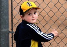 Rick Egan  | The Salt Lake Tribune   Four-year-old Crew Jeppsen, at the baseball park in South Jordan, at his brother Baylor's  baseball game Wednesday, March 28, 2012. Crew has autism.