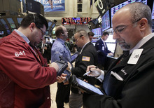 (AP Photo/Richard Drew) Financial stocks are up 22 percent, the best among the 10 industry groups within the S&P. Technology companies are up 21 percent. Consumer discretionary stocks, such as hotels and cable companies, are up 16 percent. Utilities are down 3 percent for the quarter, the only group in the red.