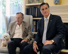 FILE - In this Dec. 1, 2011 file photo, Republican presidential candidate, former Massachusetts Gov. Mitt Romney meets with former President George H.W. Bush in Houston. The former president plans to endorse Mitt Romney, further urging the Republican Party to coalesce around the former Massachusetts governor's presidential campaign. (AP Photo/Pat Sullivan)