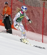 Lindsey Vonn skis out her run after not finishing the women's giant slalom skiing event during the U.S. Alpine Championships, Saturday, March 31, 2012, in Winter Park, Colo. (AP Photo/Jim Urquhart)