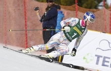Lindsey Vonn skis out her run after not finishing the women's giant slalom skiing event during the U.S. Alpine Championships Saturday, March 31, 2012, in Winter Park, Colo. (AP Photo/Jim Urquhart)