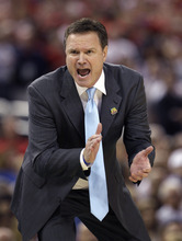 Kansas head coach Bill Self calls out to his team during the second half of an NCAA Final Four semifinal college basketball tournament game against Ohio State Saturday, March 31, 2012, in New Orleans. (AP Photo/David J. Phillip)