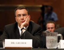 FILE - In this May 12, 2009, file photo Jonathan Gruber, professor of Economics at the Massachusetts Institute of Technology, participates in a Capitol Hill hearing on the overhaul of the heath care system in Washington. A supporter of the Affordable Care Act, Gruber says,