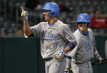 Scott Sommerdorf  |  The Salt Lake Tribune              UCLA's RF Jeff Gelalich points to the dugout as he scored UCLA's tenth run on a HR in the sixth inning. UCLA led 10-0 at the tiome. UCLA plays Utah in the Utes' Pac-12 baseball opener at Spring Mobile Ballpark, Friday, March 30, 2012. Scott Sommerdorf  |  The Salt Lake Tribune              UCLA plays Utah in the Utes' Pac-12 baseball opener at Spring Mobile Ballpark, Friday, March 30, 2012.