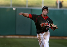 Scott Sommerdorf  |  The Salt Lake Tribune              Utah ss James Brooks throws out UCLA's Eric Filia-Snyder during fifth inning action. UCLA plays Utah in the Utes' Pac-12 baseball opener at Spring Mobile Ballpark, Friday, March 30, 2012.