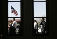 Scott Sommerdorf     The Salt Lake Tribune              People file past the Conference Center windows as they wait to be admitted to the 182nd Annual General Conference of The Church of Jesus Christ of Latter-day Saints on Saturday.