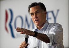 Republican presidential candidate, former Massachusetts Gov. Mitt Romney speaks at a building supply store in Green Bay, Wis., Monday, April 2, 2012. (AP Photo/Steven Senne)
