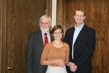 U. honors student Ashley Edgette, center, was named a 2012 Truman Scholar. She is pictured with U. President David Pershing, left, and Kirk Jowers, director of the Hinckley Institute of Politics. Courtesy photo from the University of Utah.