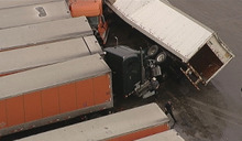 Tornado damage at the Flying J truck Tuesday, March 3, 2012, in Lancaster, Texas. Several reported tornadoes tore through the Dallas area on Tuesday, tossing semis in the air and leaving crumpled tractor trailers strewn along highways and in truck stop parking lots. (AP Photo/KDFW-TV)
