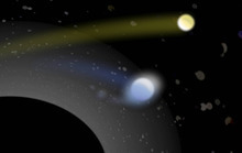 Courtesy of Ben Bromley, University of Utah Artist's conception of a supermassive black hole (lower left) with its tremendous gravity capturing one star (bluish, center) from a pair of binary stars, while hurling the second star (yellowish, upper right) away at a hypervelocity of more than 1 million mph. The grayish blobs are other stars captured in a cluster near the black hole. They appear distorted because the black hole's gravity curves spacetime and thus bends the starlight.